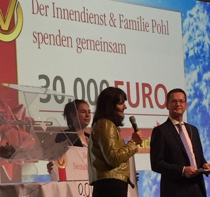 Eine Wahnsinns Spende von 30.000 € erhielten wir von der Deutschen Vermögensberatung Aktiengesellschaft DVAG!