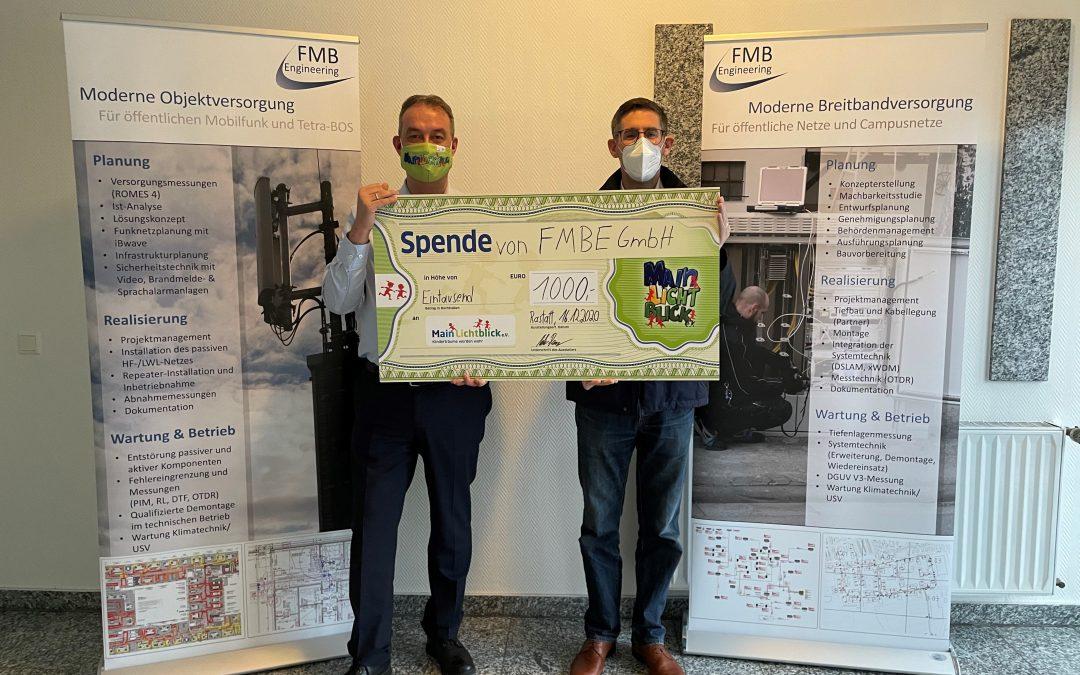 FMBE GmbH überreicht 1.000 Euro Weihnachtsspende an MainLichtblick