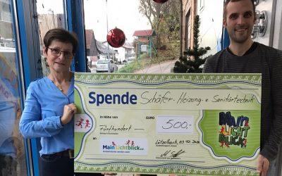 500 € Weihnachtsspende von Firma Schäfer Heizungs.-und Sanitärtechnik