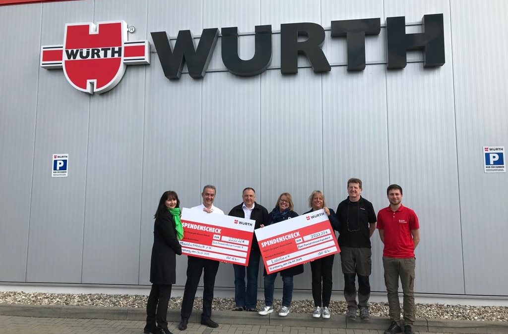 Adolf Würth GmbH & Co. KG. spendet 2222,22 Euro an MainLichtblick!