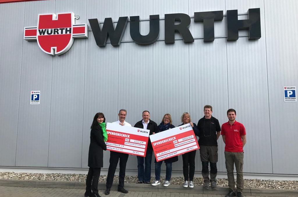 Adolf Würth GmbH & Co. KG. spendet 2222,22 Euro an MainLichtblick!